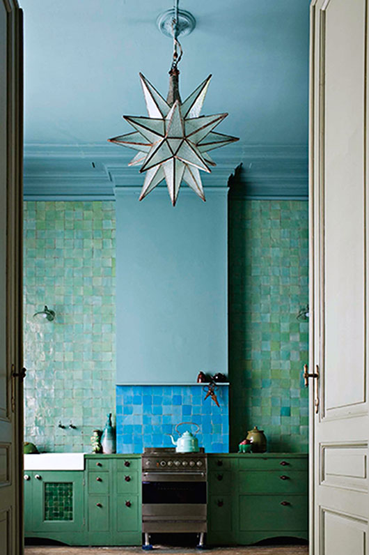 kitchen with green and blue backsplash / sfgirlbybay