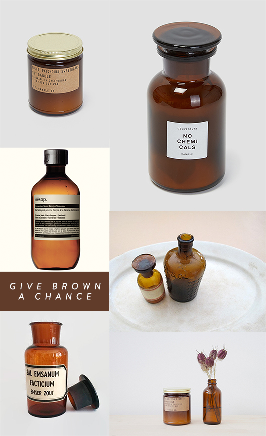 brown glass jars / sfgirlbybay