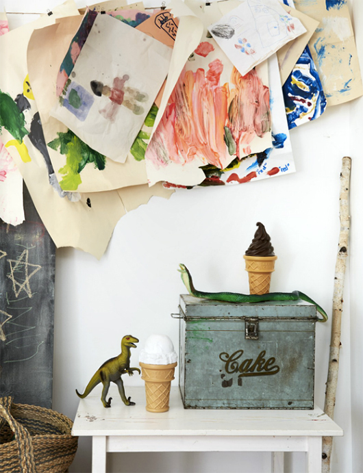 vintage accessories styled with children's art / sfgirlbybay