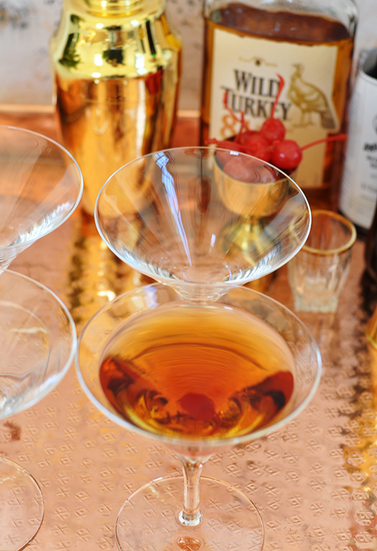 holiday manhattan served in waterford martini glass / sfgirlbybay