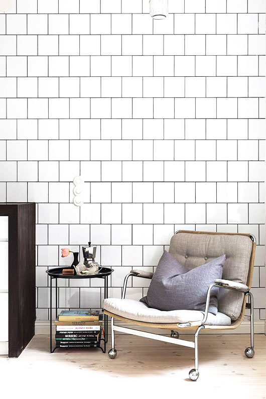 white tile wall and modern chair styled by fantastic frank / sfgirlbybay