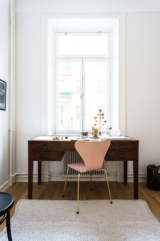 pink chair and wood desk styled by fantastic frank / sfgirlbybay
