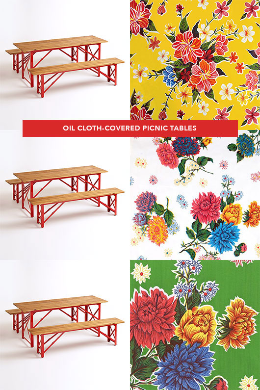 floral oil-cloths and modern picnic tables / sfgirlbybay