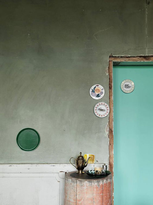 rustic interior with two shades of green paint / sfgirlbybay