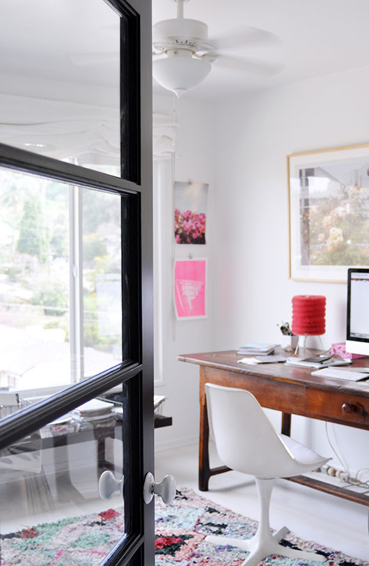 white home office with black glass door / sfgirlbybay