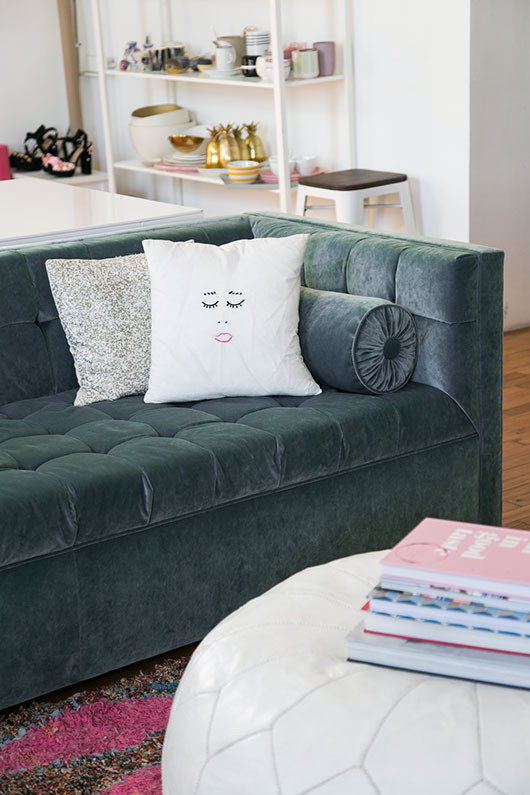 girlie throw pillows on langford dwellstudio sofa / sfgirlbybay