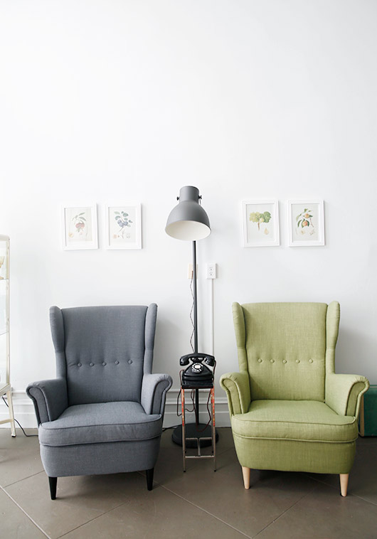 green and gray armchairs in tulipina design studio. / sfgirlbybay