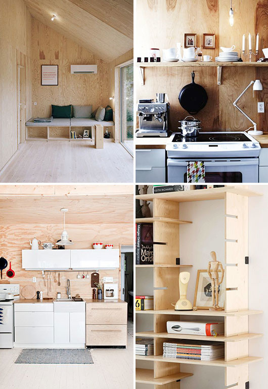 plywood decor via Johannes Norlander architecture; hannotte interiors; pedersen lennard; and mjolk cottage kitchen via kitka design. / sfgirlbybay