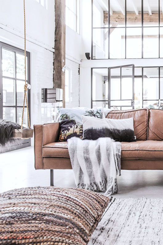 nude leather sofa, from hkliving. / sfgirlbybay