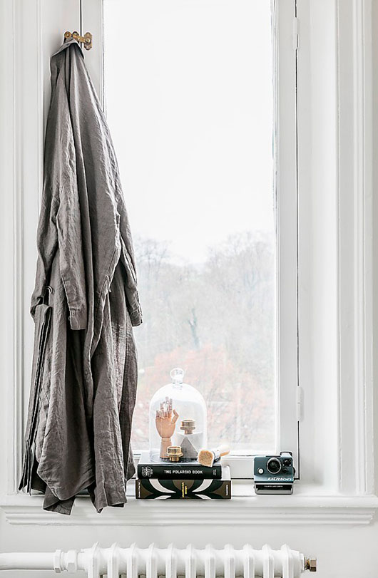 robe and collectibles over painted radiator / sfgirlbybay