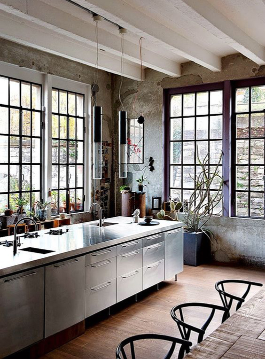 modern kitchen with black window frames / sfgirlbybay