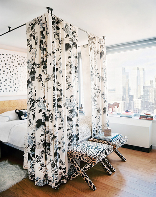 modern bedroom with black and white printed textiles / sfgirlbybay