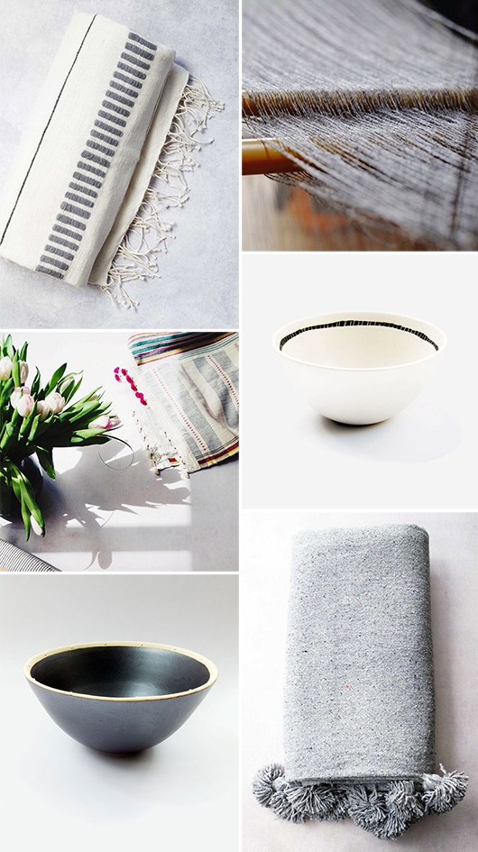 handmade blankets and pottery via minzuu. / sfgirlbybay