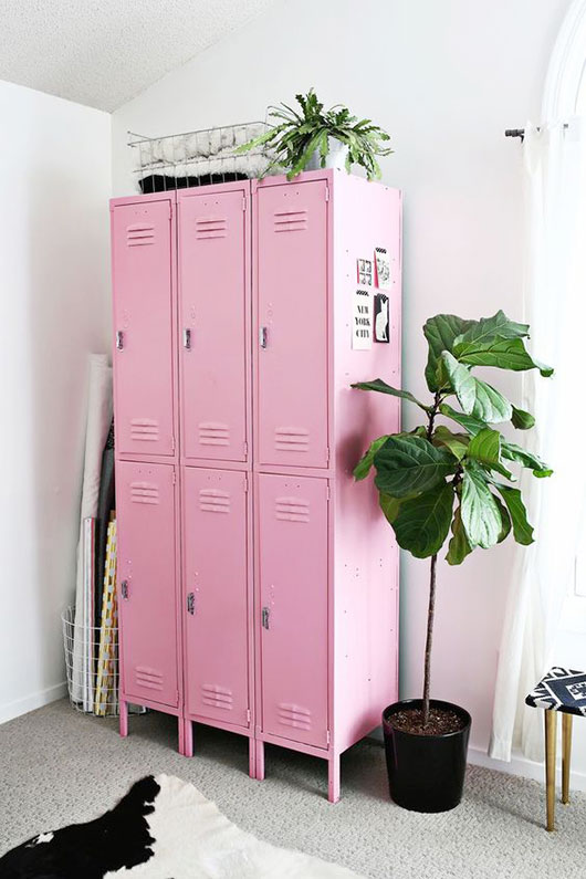 pink lockers with green potted plants via a beautiful mess. / sfgirlbybay