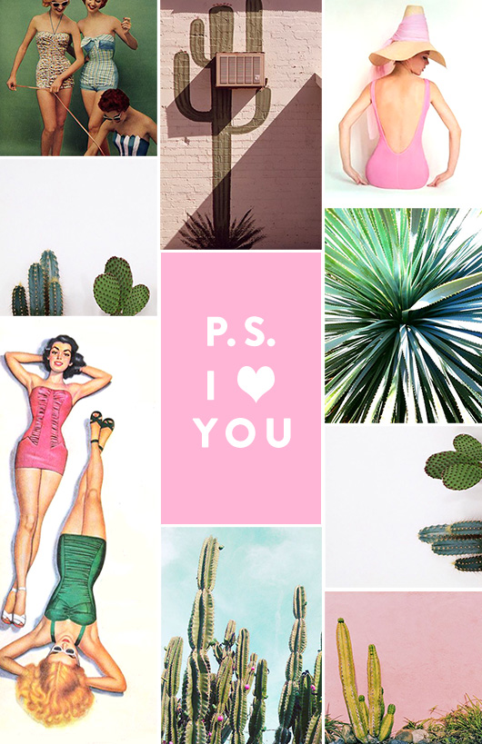 vintage bathing beauties and cacti for palm springs inspiration. / sfgirlbybay