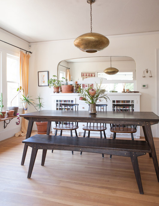 handmade wood dining table, bench and chairs with metallic pendant light fixture. / sfgirlbybay