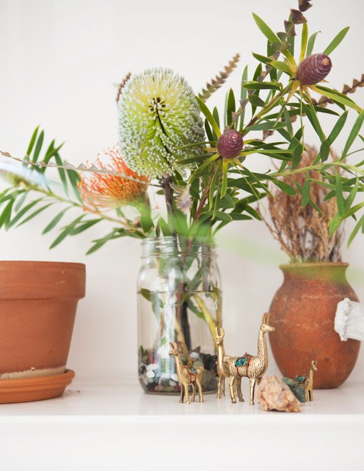 gold animal figurines and ceramic potted plants / sfgirlbybay