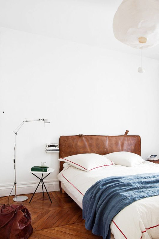 white modern bedroom with blue and orange bedding / sfgirlbybay