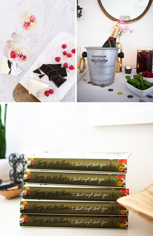 champagne brunch with ghiridelli chocolate, cheese and raspberries with author terry mcmillan at my home / sfgirlbybay