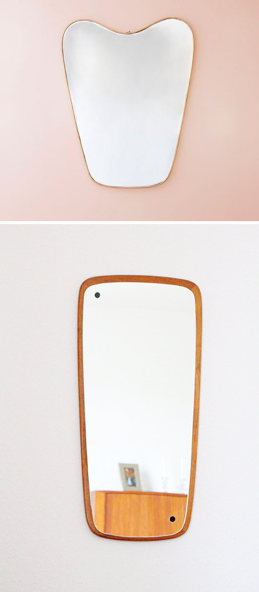 1950's italian mirroron pale pink wall and a mid-century modern teak framed version. / sfgirlbybay