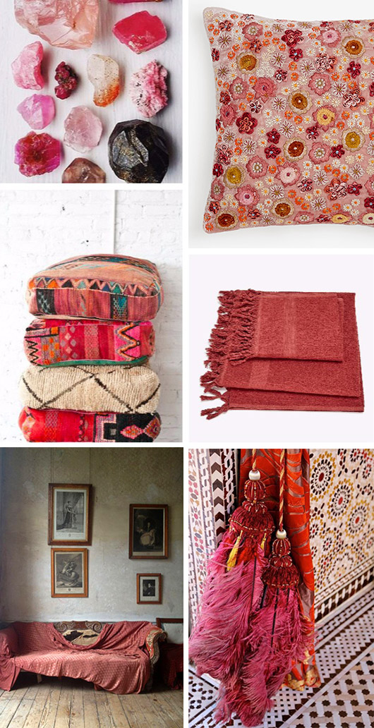 moroccan style home decor with rose red and shades of pink / sfgirlbybay