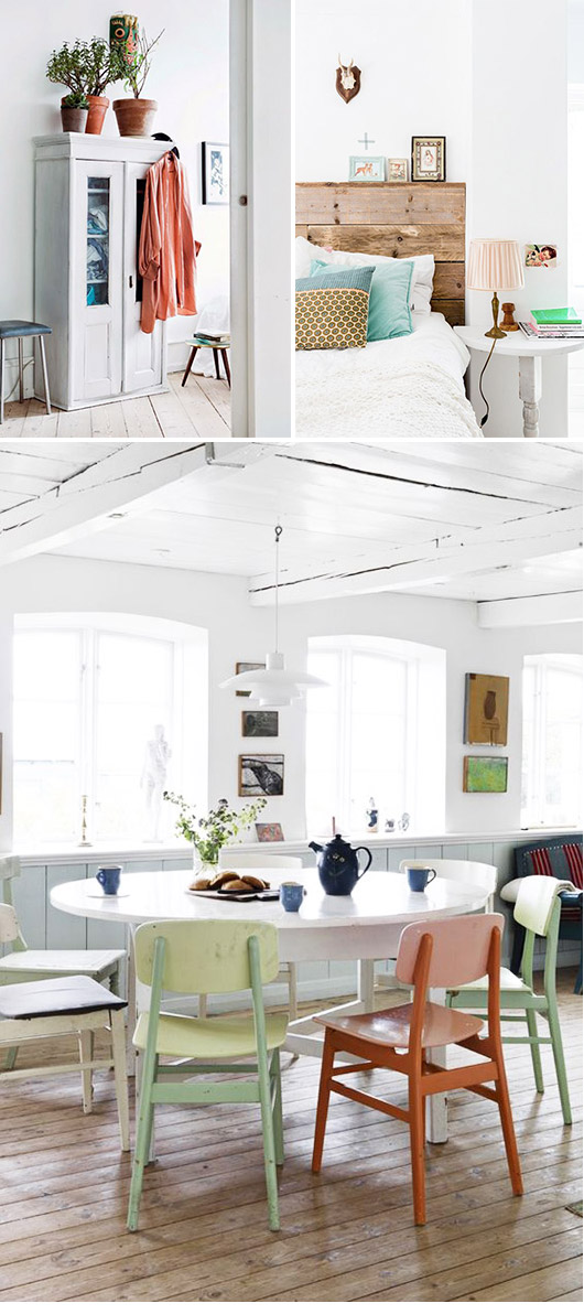 a collection of white spaces with pops of colorful decor / sfgirlbybay