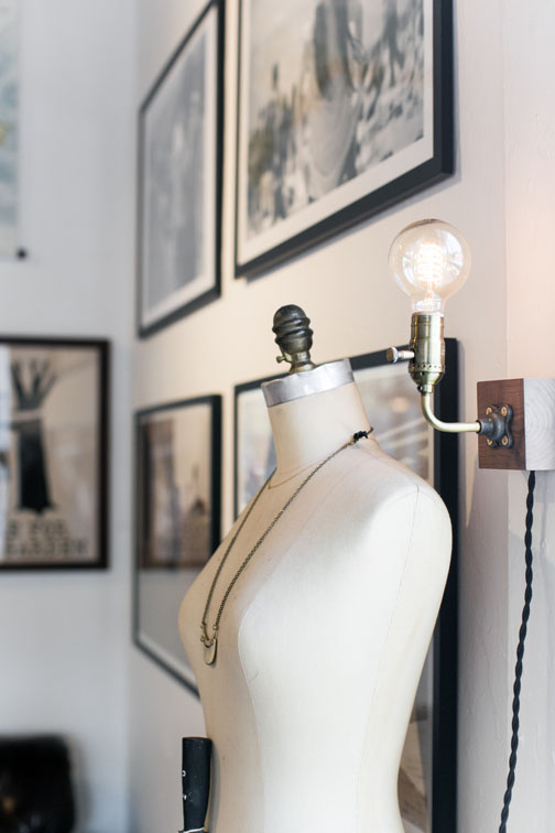 modern light fixture and vintage dress form on display at hemingway & pickett / sfgirlbybay