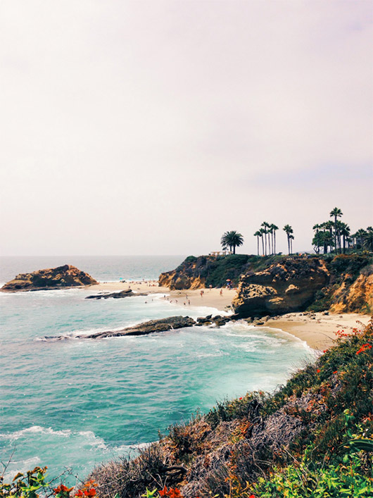 colorful hillside above the water in laguna beach california / sfgirlbybay