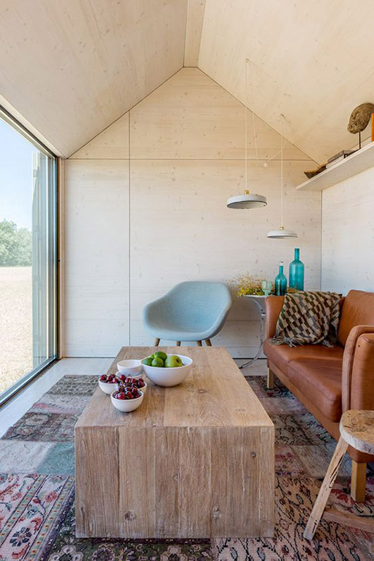 modern cabin with plywood ceiling and walls and rustic wood coffee table / sfgirlbybay