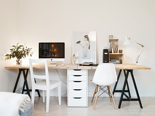 long wood desk top with black saw horse legs and white filing cabinet / sfgirlbybay