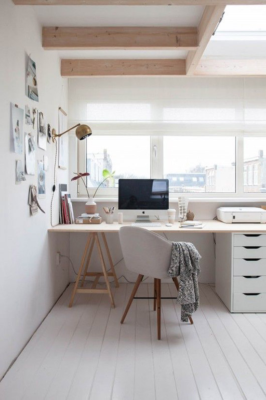 desk with saw horse base and filing cabinet / sfgirlbybay
