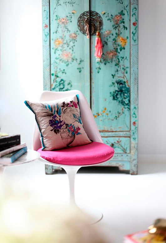 turquoise cabinet with painted flowers / sfgirlbybay