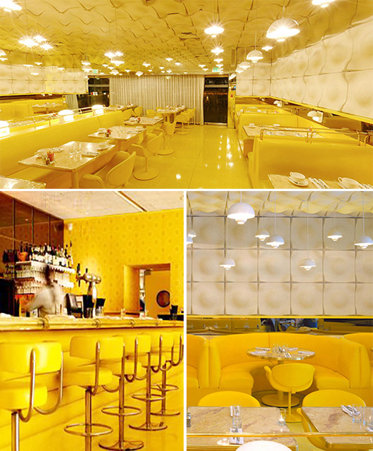 yellow and white decor inside the standard restaurant in los angeles / sfgirlbybay