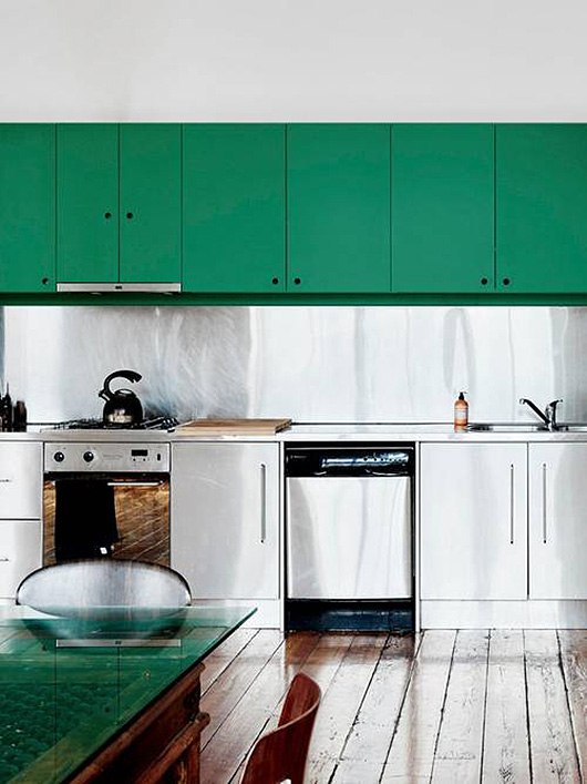 stainless steel and green kitchen decor via domino / sfgirlbybay