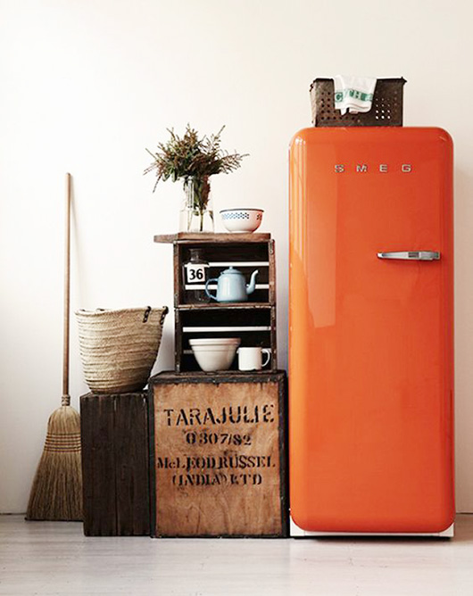orange smeg with rustic kitchen decor / sfgirlbybay