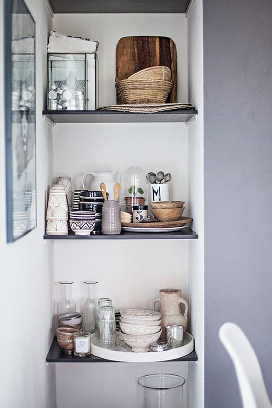 small kitchen shelves for dishware storage / sfgirlbybay