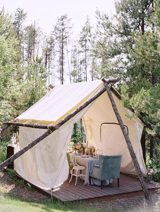 tent with dining table in the woods. / sfgirlbybay