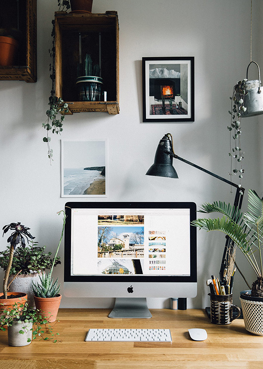 creative couple behind the future kept's desk area at home. / sfgirlbybay