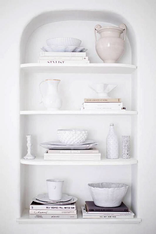 white arched alcove of shelves / sfgirlbybay