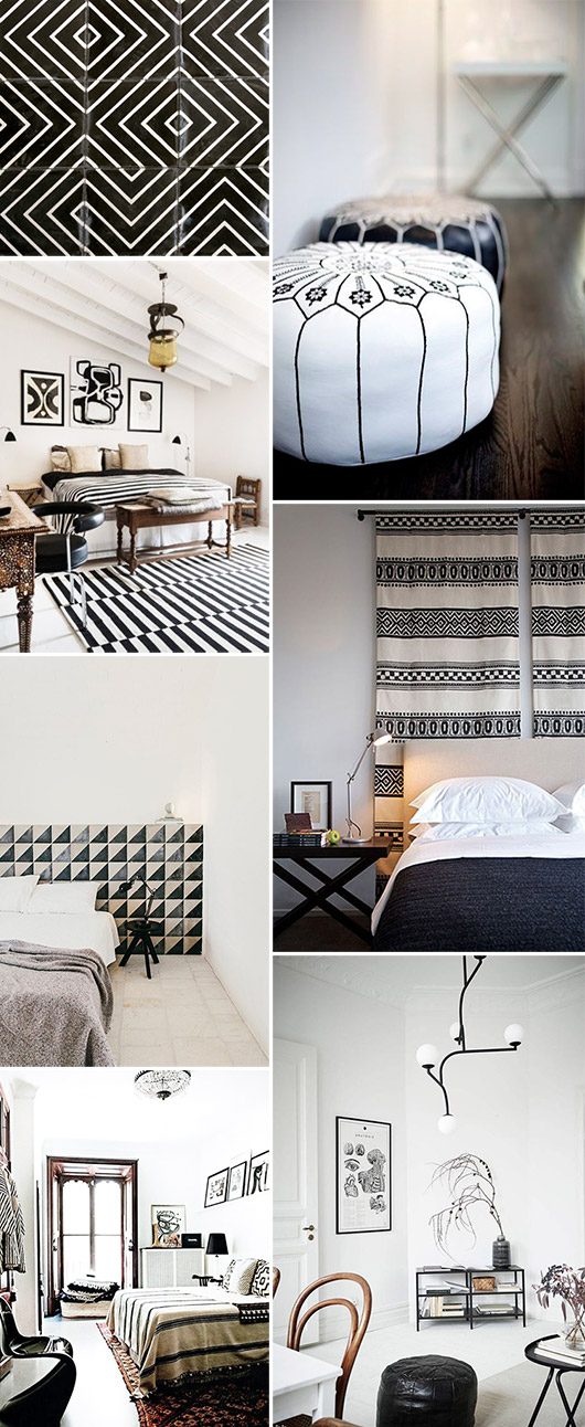 black and white home decor and textiles with moroccan vibes. / sfgirlbybay