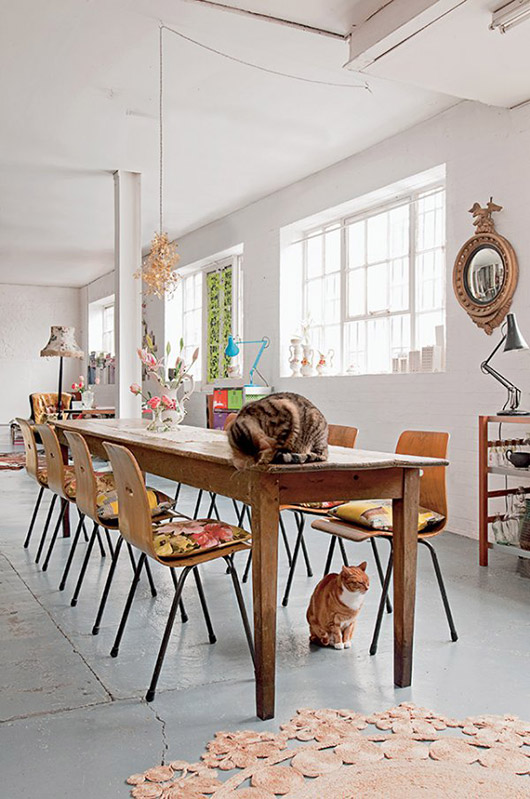 two cats inside emily chalmer's london loft. / sfgirlbyaby