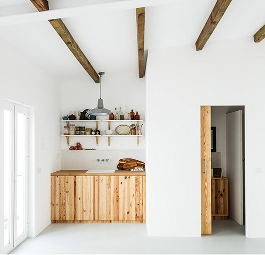 natural wood beamed ceilings and exposed pine wood cabinet and door. / sfgirlbybay