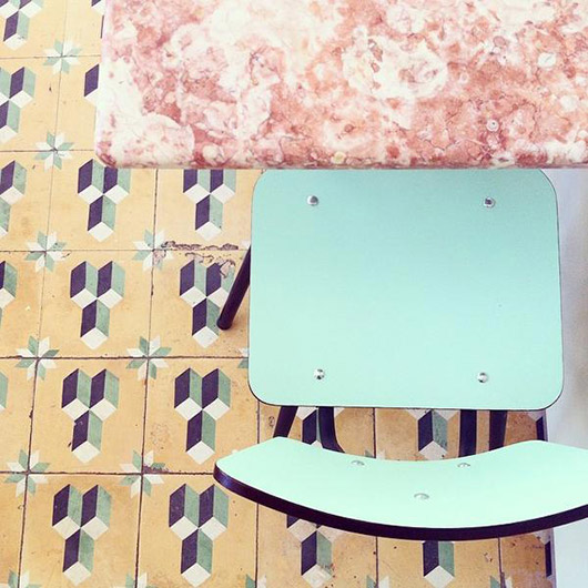 patterned tile floors, mint chairs and pink tables at cafe a luz ideal. / sfgirlbybay