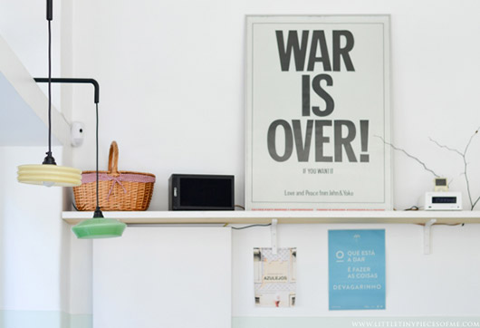 war is over poster at cafe a luz ideal in lisbon. / sfgirlbybay