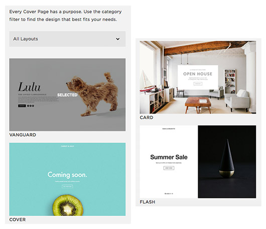 coverpage options from sqaurespace. / sfgirlbybay