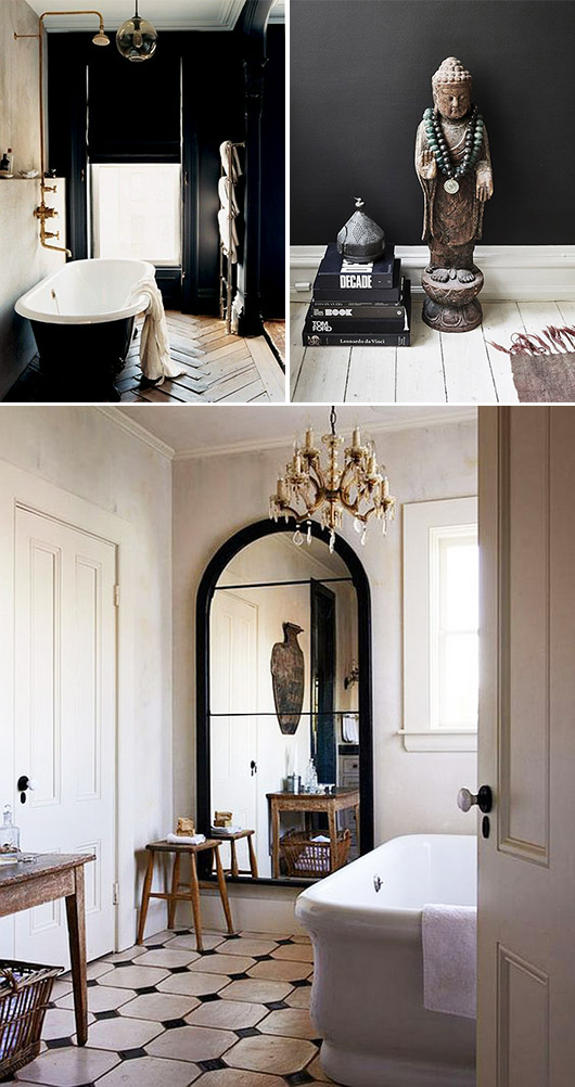 black and white bathrooms with brass chandeliers. / sfgirlbybay