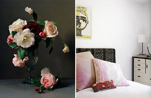 floral arrangement and bohemian bedroom decor. / sfgirlbybay