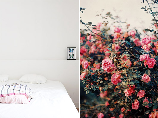 white bedroom with pink roses. / sfgirlbybay