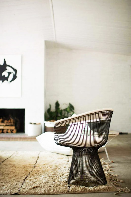 black wire base chair with cream cushion. / sfgirlbybay
