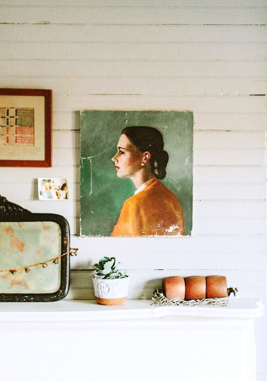 vintage portrait painting via design*sponge home tour. / sfgirlbybay